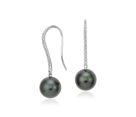 Blue Nile Tahitian Cultured Pearl and Diamond Cluster Drop Earrings in 14k White Gold (8mm)