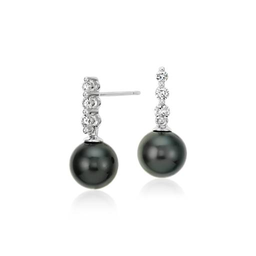 Tahitian Cultured Pearl And Diamond Drop Earrings In 18k White Gold 8mm