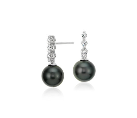 Blue Nile Tahitian Cultured Pearl and Diamond Cluster Drop Earrings in 14k White Gold (8mm) oWXchGsbYD