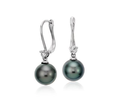 18k 白金大溪地养珠钻石吊式耳环<br>(9.0-9.5毫米)