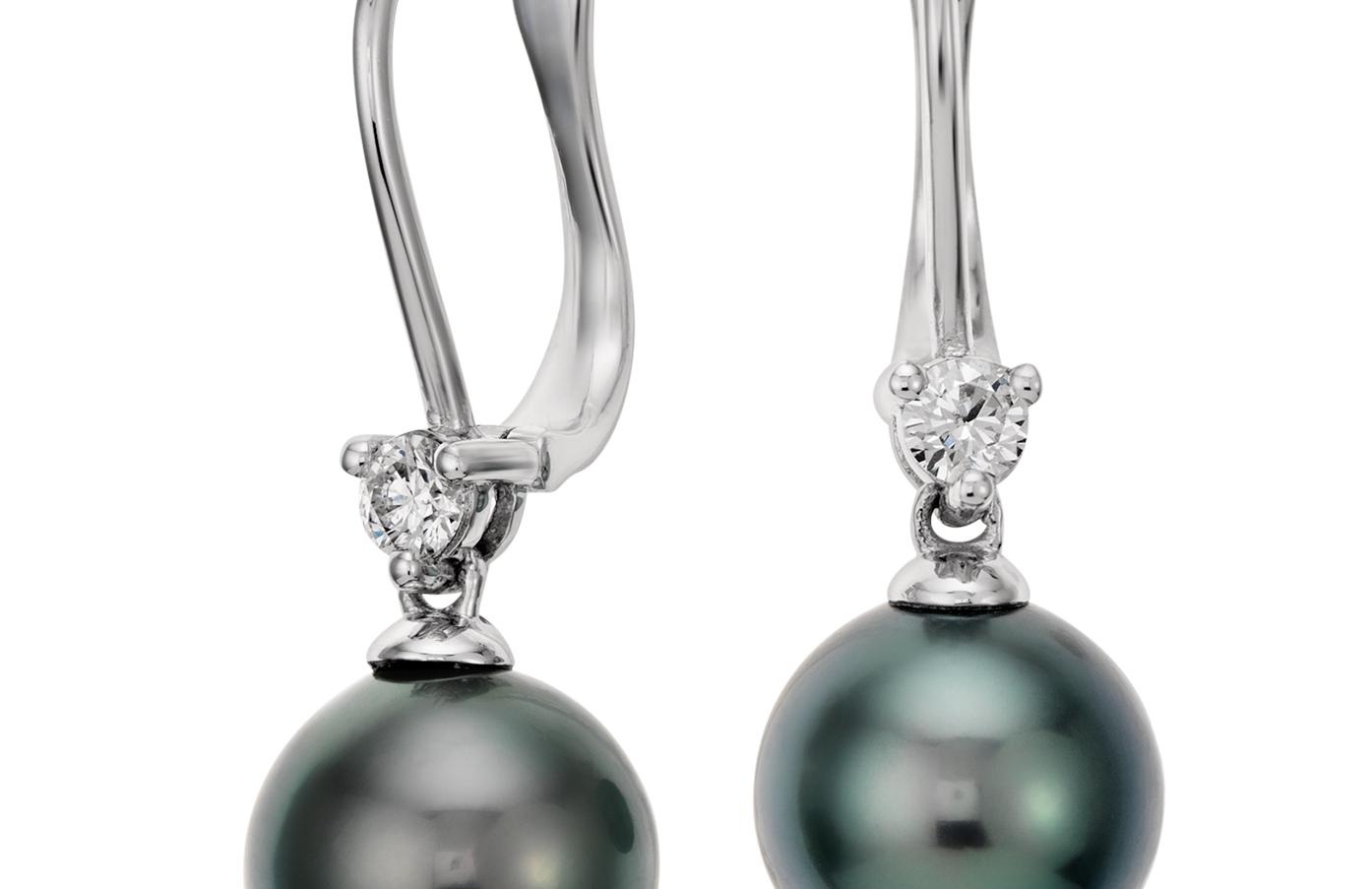 Aretes colgantes de diamante y perla cultivada de Tahití en oro blanco de 18 k (9,0-9,5mm)