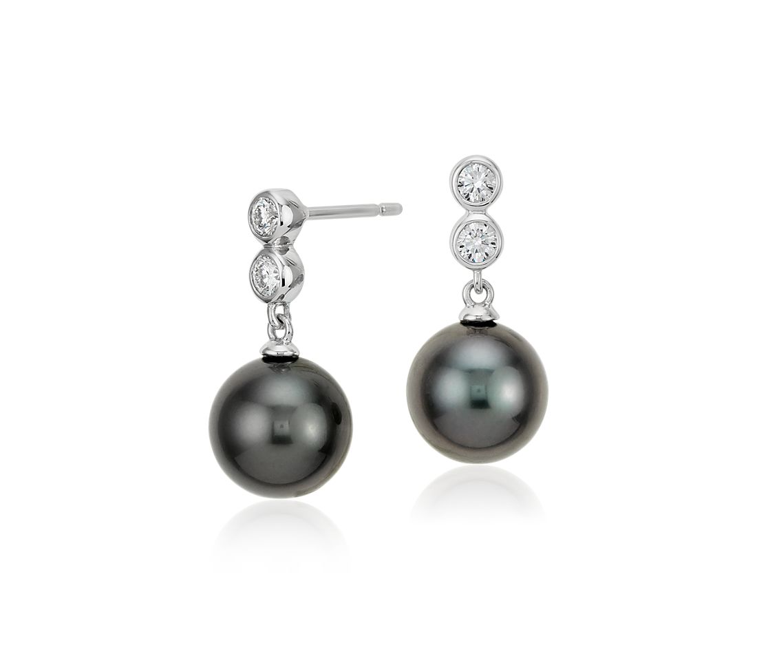 Tahitian Cultured Pearl Diamond Drop Earrings In 18k White Gold (95mm)