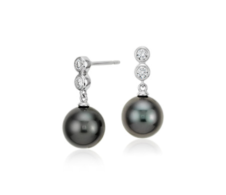 Tahitian Cultured Pearl Diamond Drop Earrings in 18k White Gold (9.5mm)