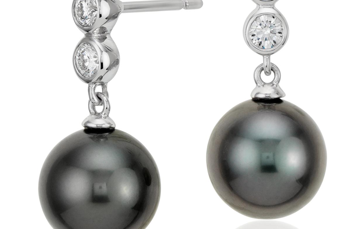 Pendants d'oreilles diamant et perle de culture de Tahiti en or blanc 18carats (9,5mm)
