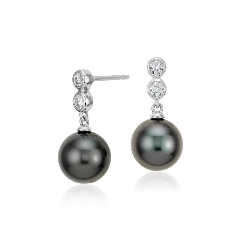 Tahitian Cultured Pearl Diamond Drop Earrings in 18k White Gold (