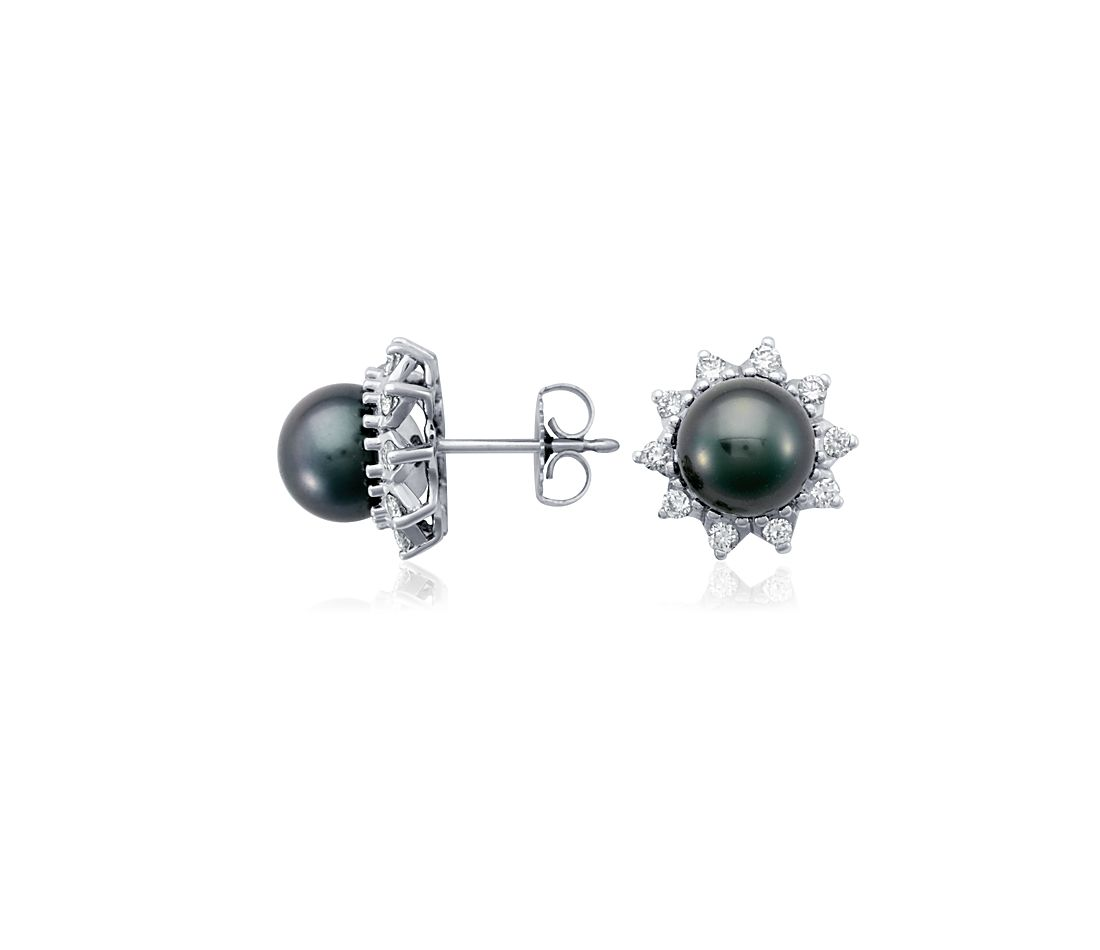 Tahitian Cultured Pearl and Diamond Starburst Earrings in 18k White Gold