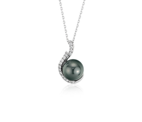 Tahitian cultured pearl and diamond pendant in 18k white gold 9mm tahitian cultured pearl and diamond pendant in 18k white gold 9mm aloadofball Image collections