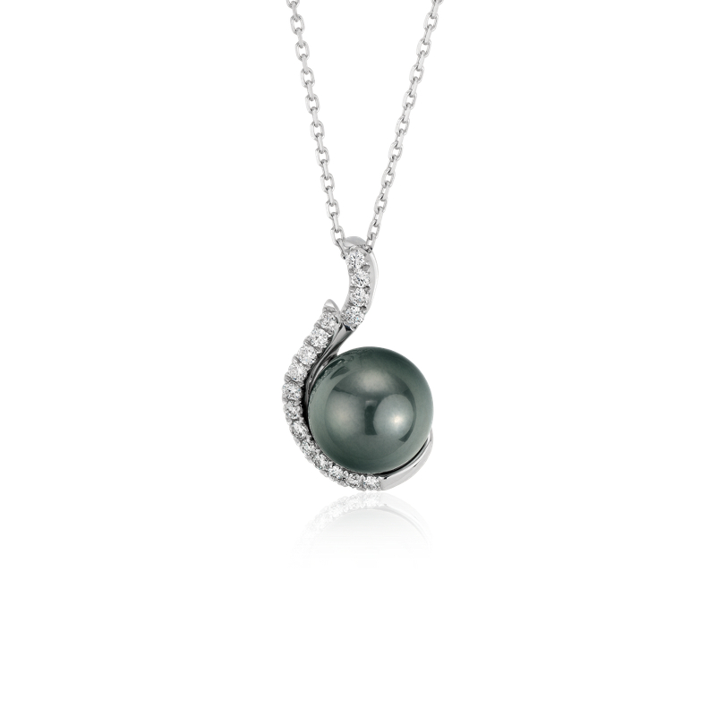 Tahitian Cultured Pearl and Diamond Pendant in 18k White Gold (9m