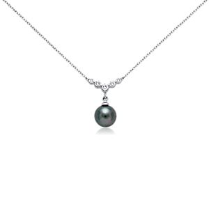 Tahitian Cultured Pearl and Diamond Necklace in 18k White Gold (8mm)