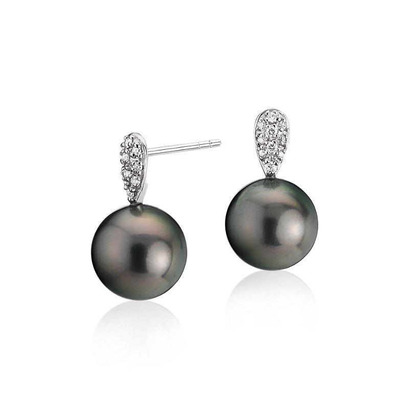 Tahitian Cultured Pearl Earrings with Diamond Teardrops in 14k Wh