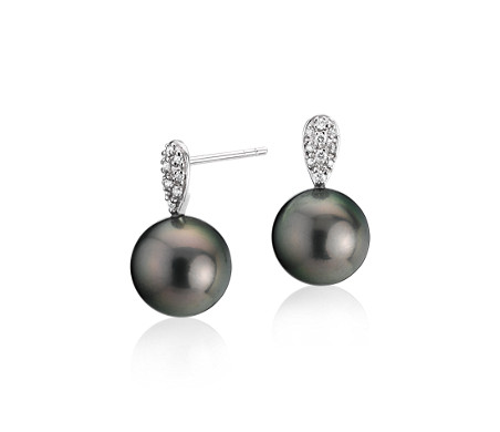 Tahitian Cultured Pearl Earrings with Diamond Teardrops in 14k White Gold (9.5-10mm)