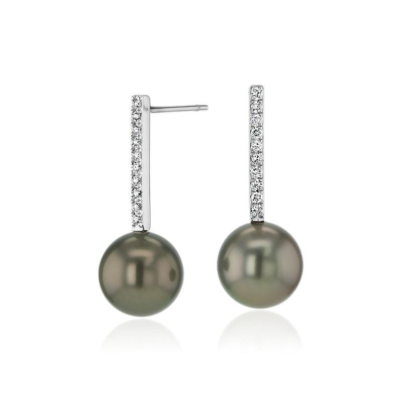 Tahitian Cultured Pearl Earrings with Diamond Drop in 14k White G