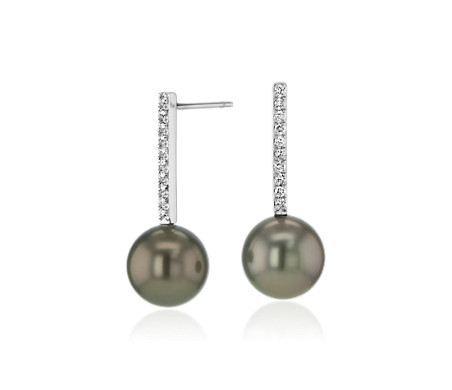 Tahitian Cultured Pearl Earrings with Diamond Drop in 14k White Gold (9-10mm)