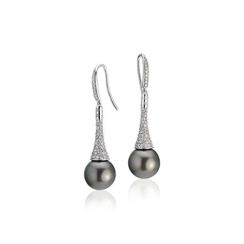Diamond Drop Tahitian Cultured Pearl Earrings in 14k White Gold (