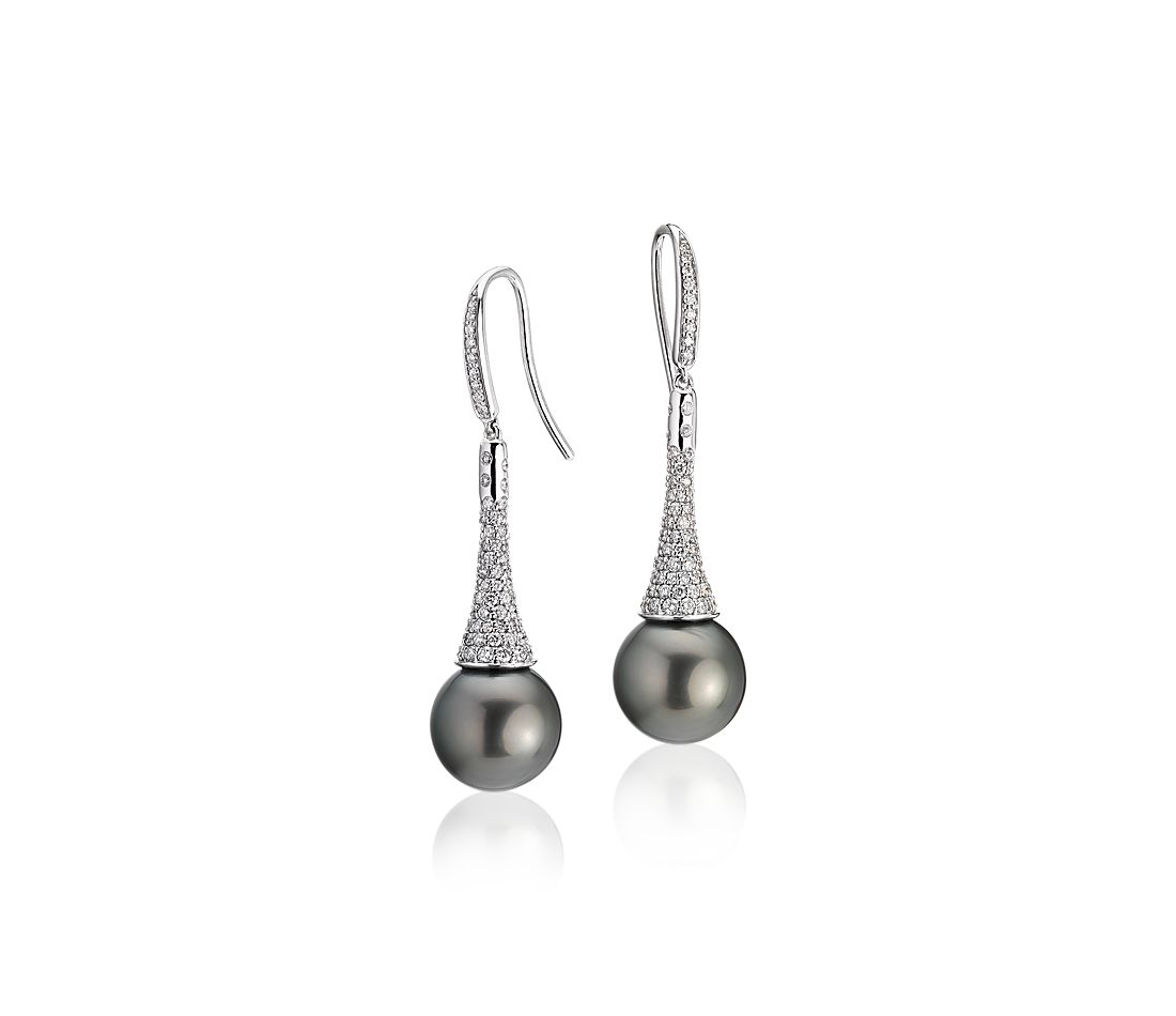 Diamond Drop Tahitian Cultured Pearl Earrings in 14k White Gold (11-12mm)