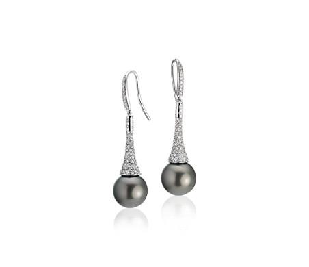 14k 白金钻石吊坠大溪地养珠钻石耳环<br>(11-12毫米)