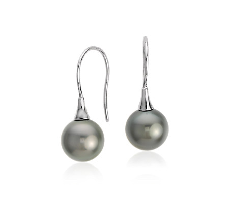Tahitian Cultured Pearl Drop Earrings in 18k White Gold (8mm)