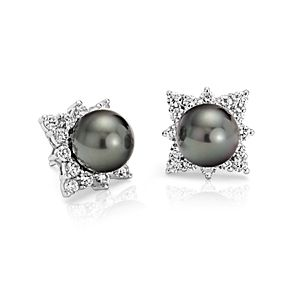 Tahitian Cultured Pearl and Diamond Halo Earrings in 18k White Gold (10.5-10.6mm)