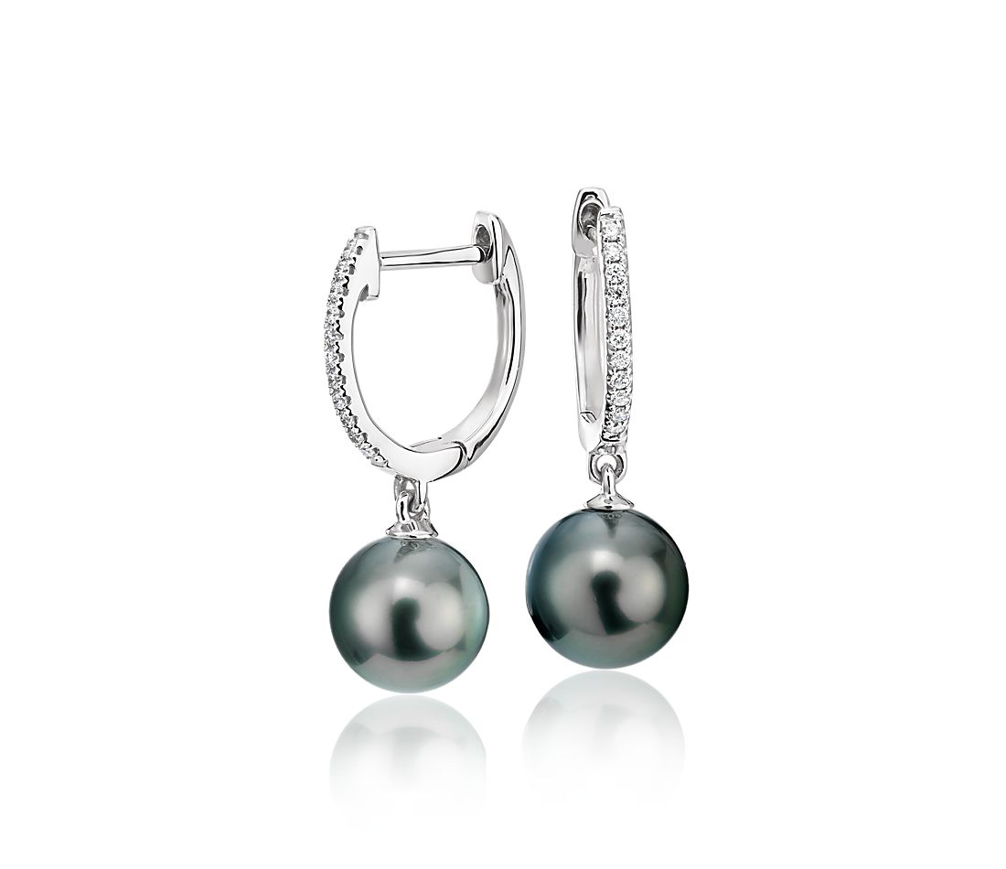 Tahitian Pearl Earrings with Diamond Hoops in 18k White Gold (8-9mm)