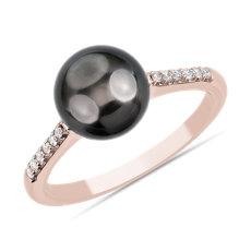 NEW 大溪地珍珠 Fashion Ring with Diamonds in 14k 玫瑰金