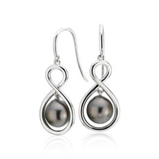Tahitian Cultured Pearl Infinity Drop Earrings in Sterling Silver (8-9mm)