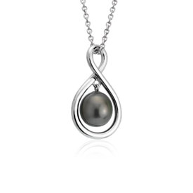 NEW Tahitian Cultured Pearl Infinity Pendant in Sterling Silver (8-9mm)
