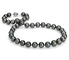Tahitian Cultured Pearl Strand Necklace in 18k White Gold (10.0-12.5mm)