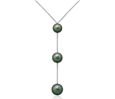 Collar con colgante de tres perlas cultivadas de Tahití en oro blanco de 18 k (8-10mm)