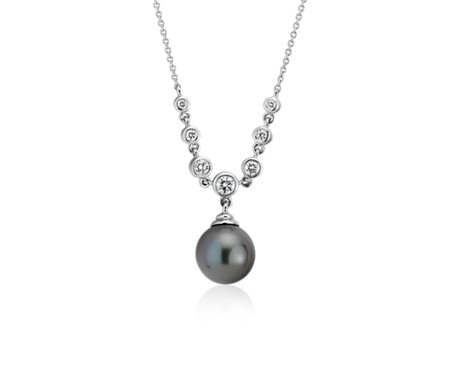 Tahitian Cultured Pearl Necklace with Bezel Set Diamonds in 14k White Gold (8.0-9.0mm)