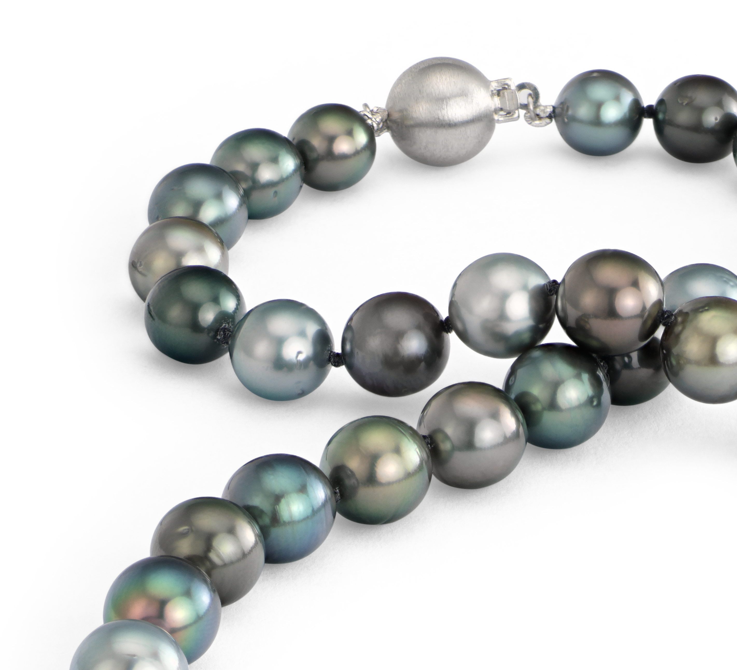 Multi-Color Tahitian Cultured Pearl Necklace in 18k White Gold (8.0-10.5mm)