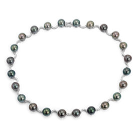 Tahitian South Sea Cultured Pearl and Diamond Necklace in 18k White Gold