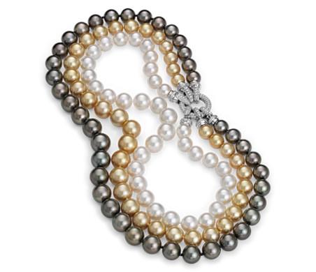 Collar triple de perlas cultivadas en oro blanco de 18 k  (10-13mm)