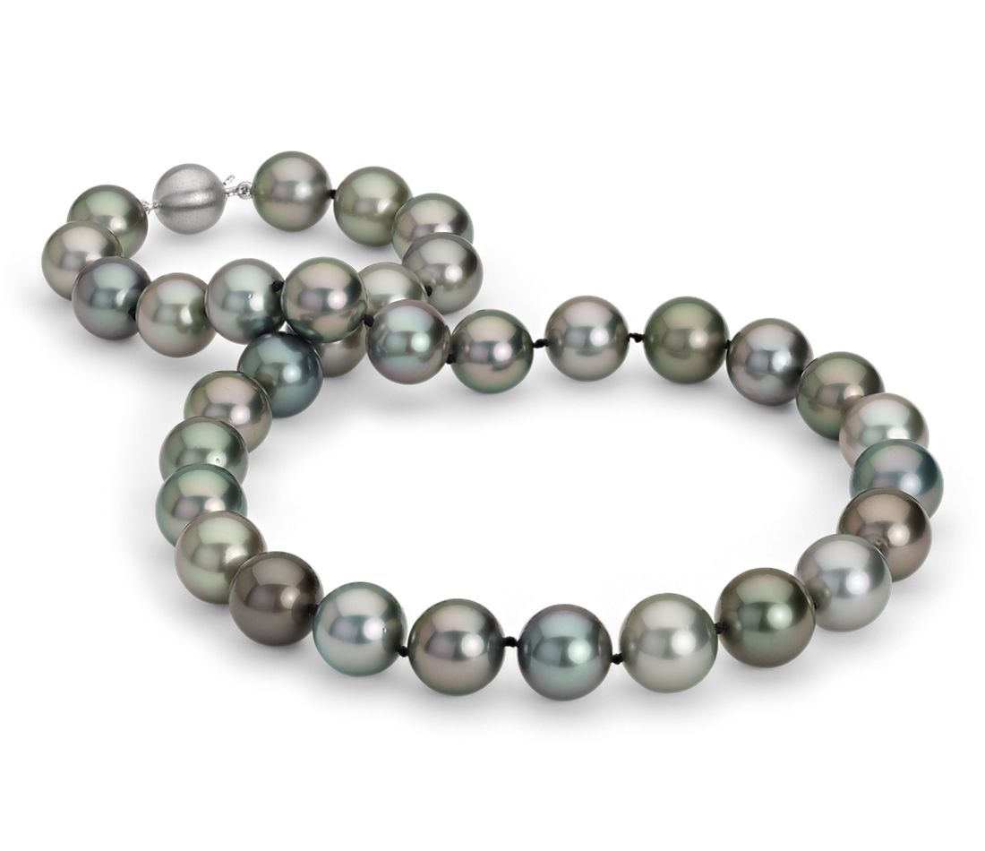Multi-Color Tahitian Cultured Pearl Necklace in 18k White Gold (12-13mm)