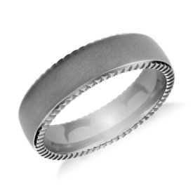 Coin Edge Matte Finish Wedding Ring in Tantalum (6.5mm)