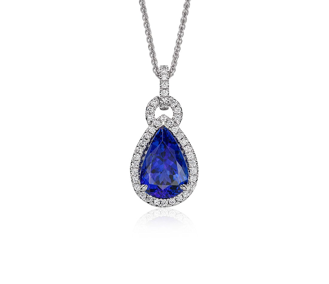 Pear Shape Tanzanite and Diamond Loop Pendant in 18k White Gold (4.48 ct. center)