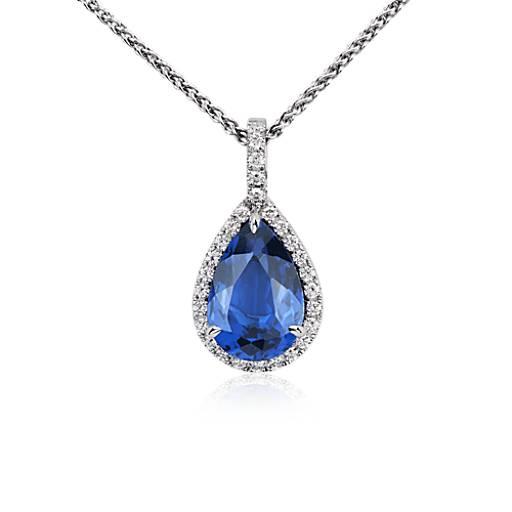 pearshaped tanzanite and diamond pendant in 18k white