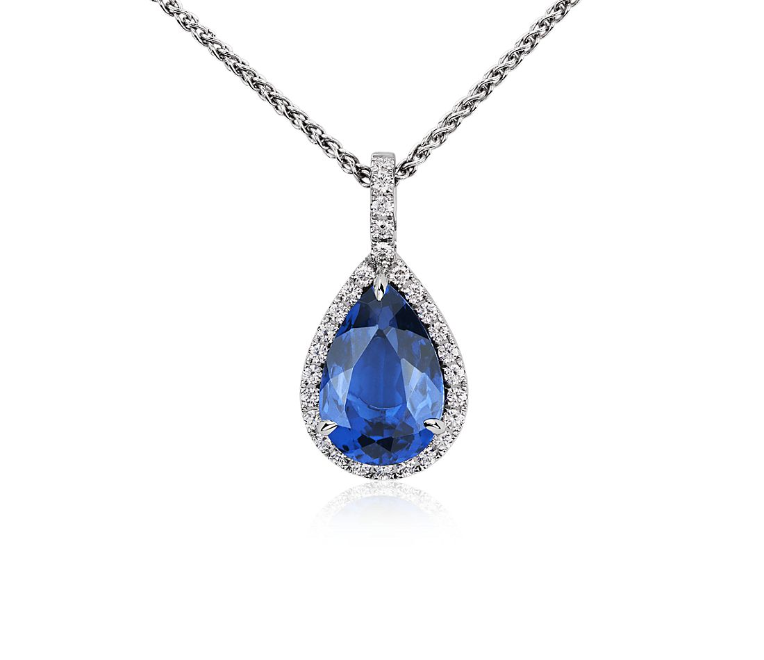 Pear Shaped Tanzanite And Diamond Pendant In 18k White
