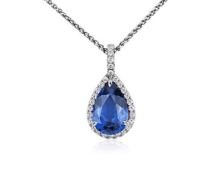 Pear shaped tanzanite and diamond pendant in 18k white gold 5 ct pear shaped tanzanite and diamond pendant in 18k white gold 5 ct center mozeypictures Choice Image