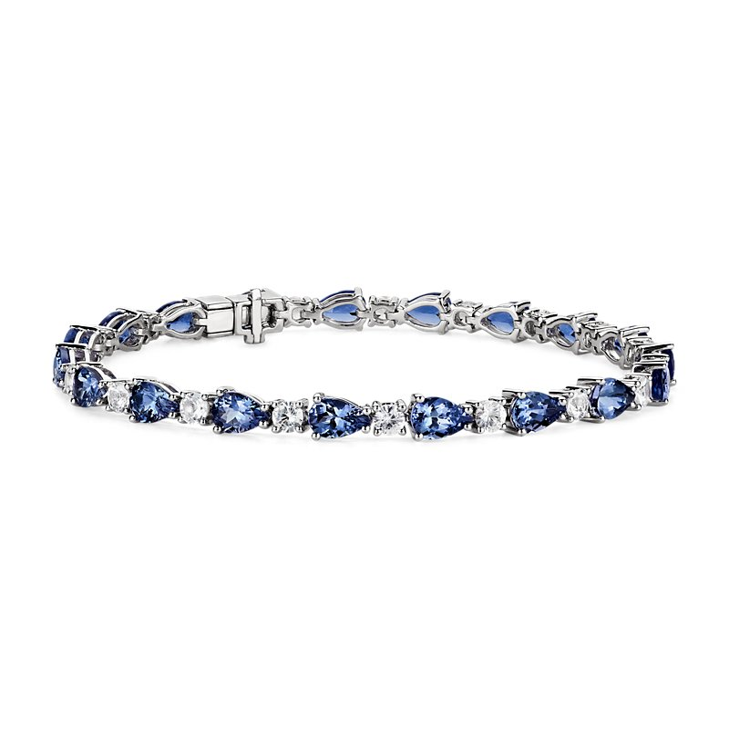 Tanzanite & White Sapphire Bracelet in 14k White Gold