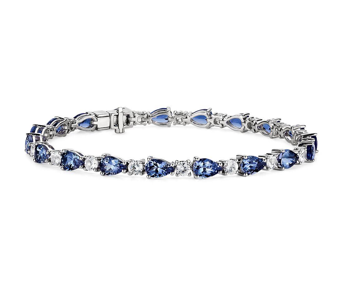 14k 白金坦桑石和白色蓝宝石手链
