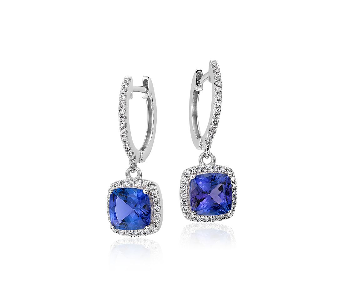 Cushion Tanzanite and Diamond Drop Earrings in 14k White Gold (6x6mm)