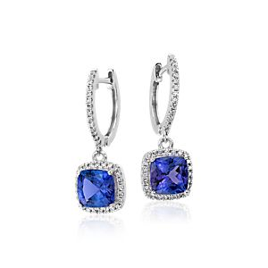 Cushion Tanzanite and Diamond Earrings in 14k White Gold (6x6mm)