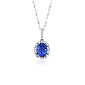 Tanzanite and Diamond Halo Pendant in 14k White Gold (9x7mm)