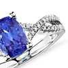 Tanzanite and Diamond Infinity Ring in 14k White Gold (8x6mm)