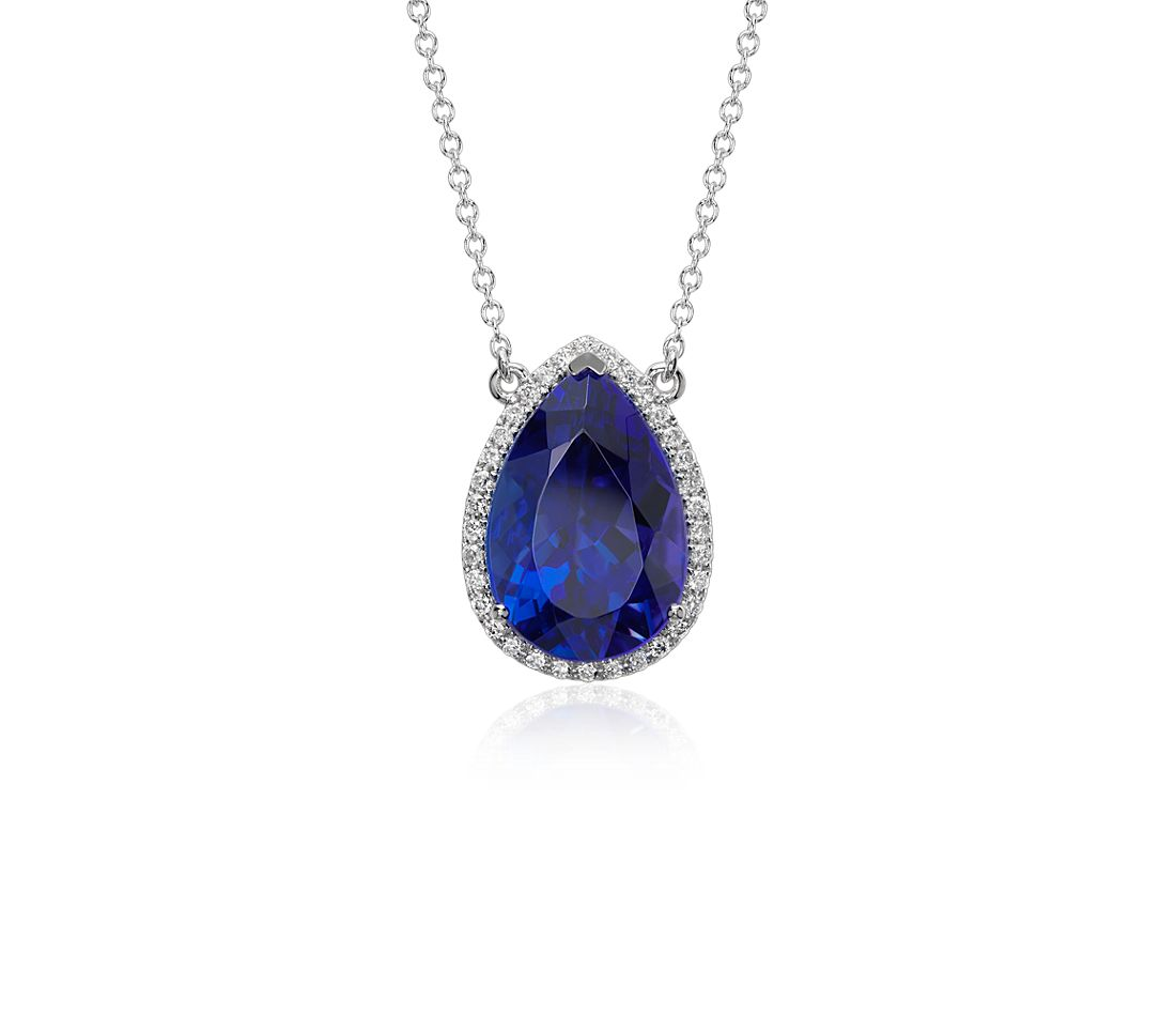 Pear Shape Tanzanite And Diamond Halo Floating Pendant In