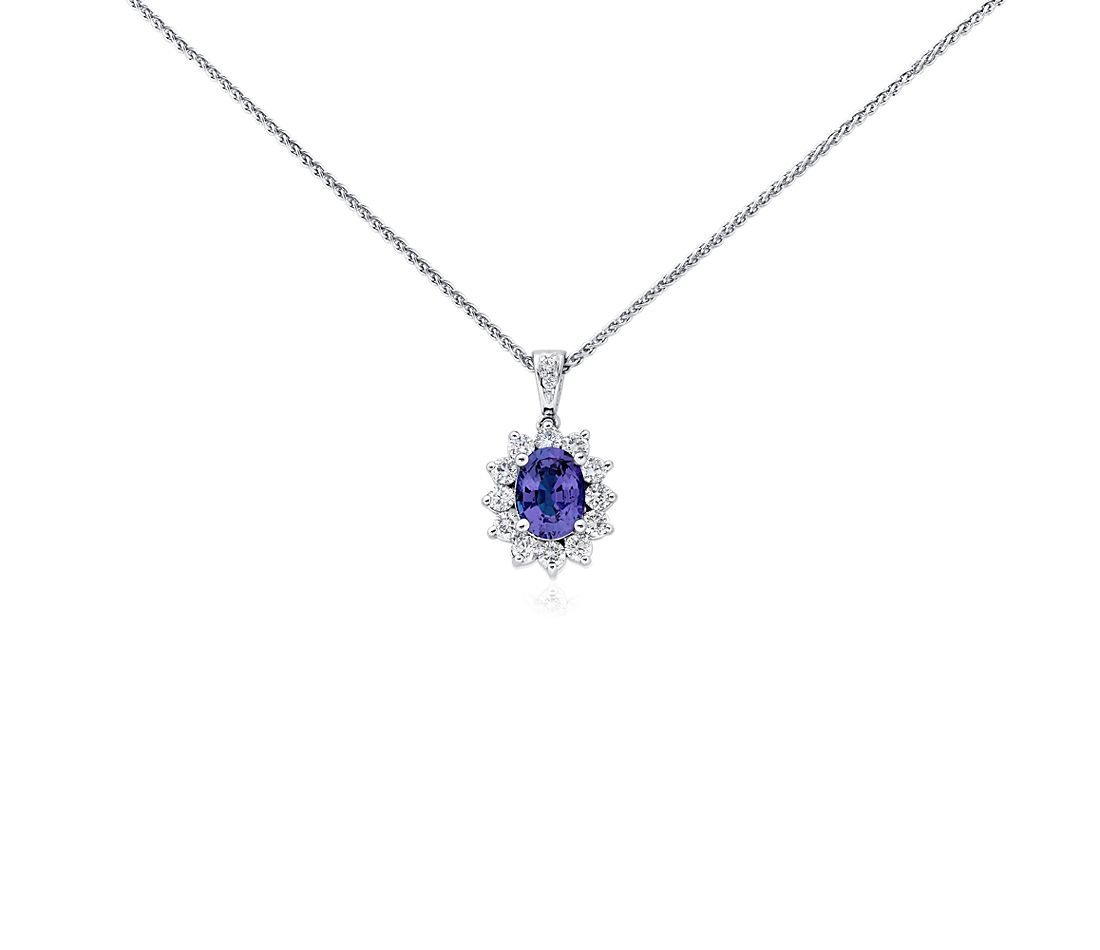 Tanzanite and Diamond Pendant in 18k White Gold (8x6mm)