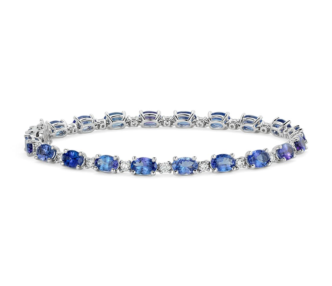 Tanzanite and Diamond Bracelet in 14k White Gold