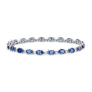 Tanzanite and Diamond Bracelet in 14k White Gold (6x4mm)