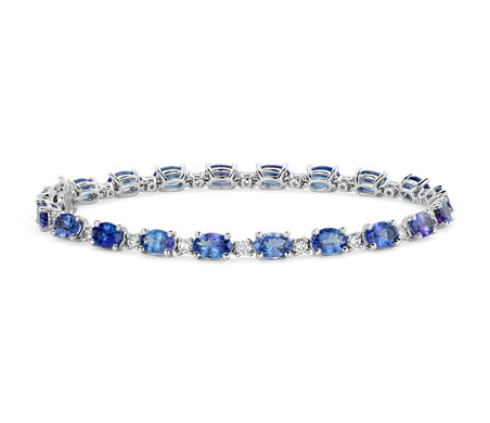 Tanzanite and Diamond Bracelet in 14k White Gold 6x4mm