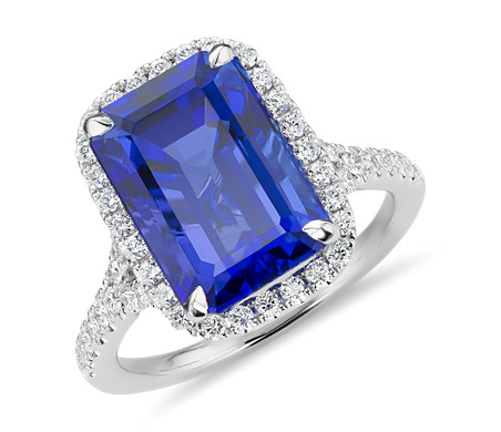 Tanzanite and Diamond Halo Cocktail Ring in 18k White Gold (7.64 ct. center)